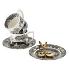 """Набор чашек чайных с блюдцами и чайными ложками Spode """"Черная Италия"""" 280мл, 2шт (лимитированный вып"""
