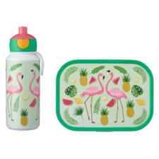 Набор детский ланч-бокс и бутылка для воды Mepal 400мл+750мл (фламинго)