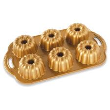 """Форма для выпечки 6 кексов 3D Nordic Ware """"Праздничные пироги"""" 1л, литой алюминий (золотая)"""