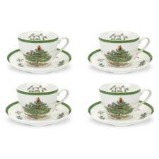 """Набор из 4 чашек чайных с блюдцем 200мл """"Рождественская ель"""""""
