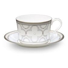 Чашка кофейная с блюдцем Noritake Трефолио, платиновый кант 90мл, фарфор