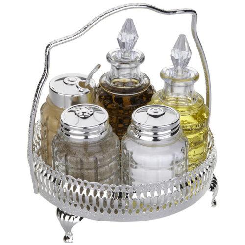 Набор для приправ и масла Queen Anne, 5 предметов, сталь, посеребрение