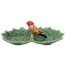 """Блюдо двухсекционное Bordallo Pinheiro """"Листья"""" 22см, с красной птичкой"""