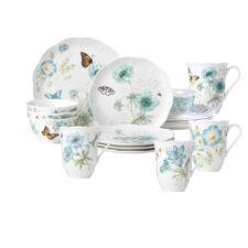 """Сервиз чайно-столовый Lenox """"Бабочки на лугу"""" на 4 персоны 16 предметов, бирюза, п/к"""