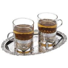 Набор стаканов с подстаканниками на подносе Queen Anne 23х19см, сталь, посеребрение, 2шт