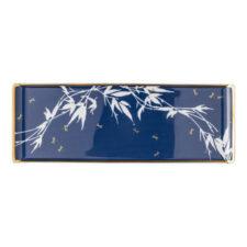 """Блюдо сервировочное прямоугольное Rosenthal """"Турандот"""" 41x15см (синее, золотой кант)"""