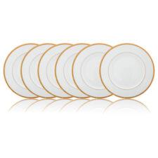 Набор тарелок закусочных Noritake Рочель,золотой кант 22см, фарфор, 6шт