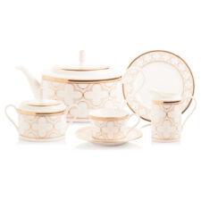 Сервиз чайный Noritake Трефолио,золотой кант на 6 персон 21 предмет, фарфор