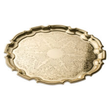 """Поднос Queen Anne """"Чиппендейл"""" 31см, золотой цвет, сталь"""