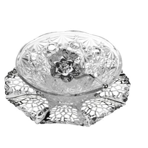 Вазочка для варенья с ложкой Queen Anne на подносе, сталь, стекло, посеребрение