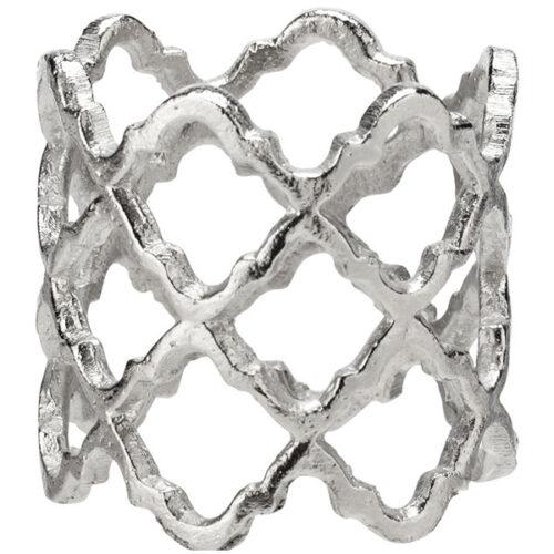 """Кольцо для салфетки 5см """"Решетка"""" (серебро)"""