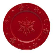"Тарелка закусочная Bordallo Pinheiro ""Снежинки"" 22см, красная"