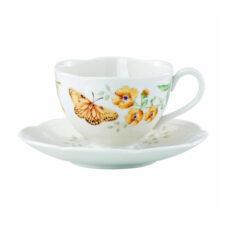 "Чашка чайная с блюдцем Lenox ""Бабочки на лугу.Желтушка"" 240мл"