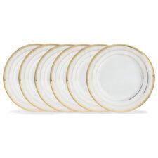 """Набор из 6 тарелок закусочных Noritake """"Хэмпшир, золотой кант"""" 21см"""