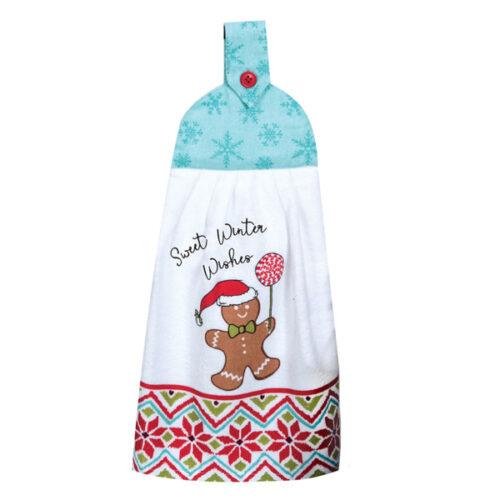 """Полотенце кухонное Kay Dee Designs с держателем """"Рождественская история"""" 23х46см, хлопок (Снеговик)"""