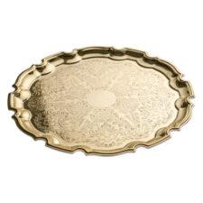 """Поднос Queen Anne """"Чиппендейл"""" 24см, золотой цвет, сталь"""