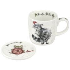 "Кружка с подставкой Royal Worcester ""Забавная фауна"", ""Рождественская кошечка"" 310мл"
