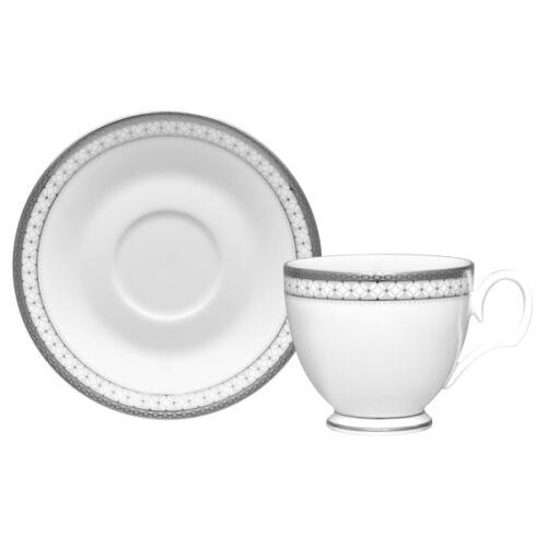 """Чашка чайная с блюдцем Noritake """"Рочестер,платиновый кант"""" 240мл"""