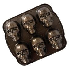 """Форма для выпечки 6 кексов 3D Nordic Ware """"Череп"""" 1,2л, 32х28см, литой алюминий (коричневая)"""