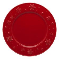"Тарелка обеденная Bordallo Pinheiro ""Снежинки"" 28см, красная"