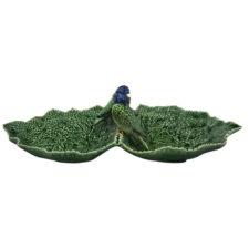 """Блюдо двухсекционное Bordallo Pinheiro """"Листья"""" 34см, с двумя синими птичками"""