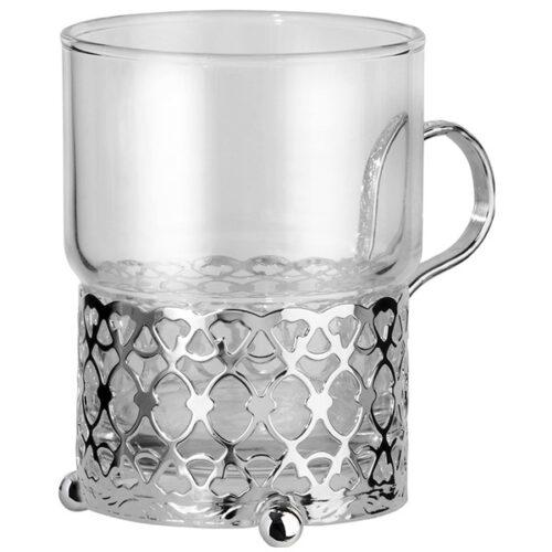 """Стакан с подстаканником Queen Anne """"Античный"""" 7х9см, стекло, сталь, посеребрение"""