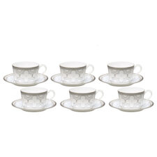 """Набор из 6 чашек чайных с блюдцами Noritake """"Трефолио,платиновый кант"""" 250мл"""