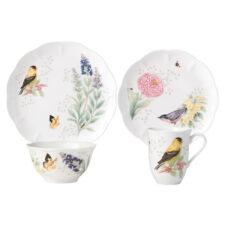 """Сервиз чайно-столовый Lenox """"Бабочки на лугу. Птицы. Щегол"""" на 4 персоны 16 предметов"""