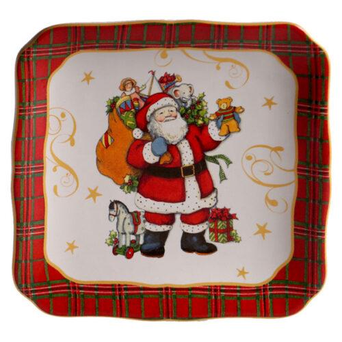 """Тарелка пирожковая квадратная Certified Int. """"Винтажный Санта.Мешок подарков"""" 15см"""