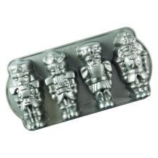 """Форма для выпечки 4 кексов 3D Nordic Ware """"Щелкунчик"""" 1,2л, литой алюминий (серебристая)"""