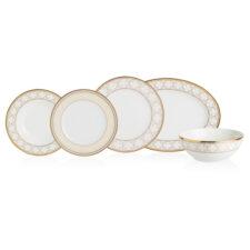 Сервиз столовый Noritake Трефолио,золотой кант на 6 персон, 20 предметов, фарфор