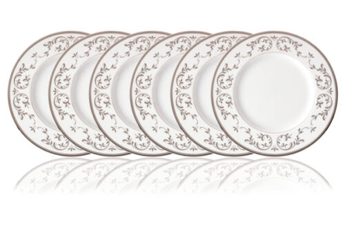 Набор тарелок обеденных Lenox Чистый опал, платина 27см, фарфор. 6шт