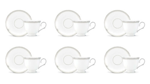 Набор чашек чайных с блюдцами Lenox Белль 180мл, фарфор, 6шт