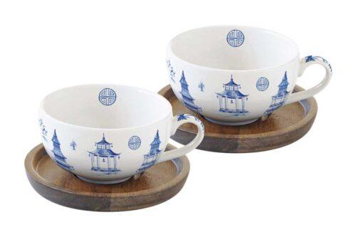 Набор из 2-х чашек для кофе с крышками/подставками из акации Пагода в подарочной упаковке