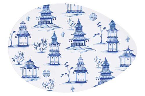 Тарелка овальная (белый) Пагода в подарочной упаковке